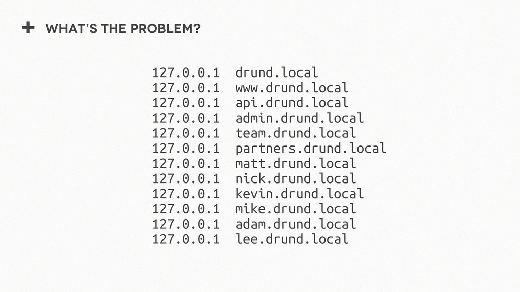 + What's the problem? 127.0.0.1 drund.local 127...