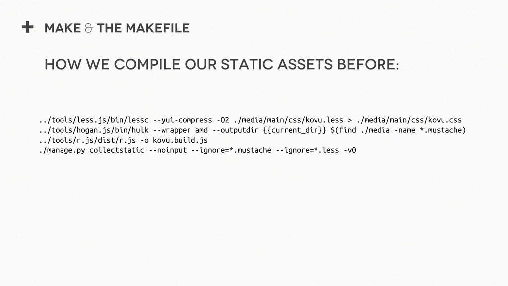 + Make & The Makefile ../tools/less.js/bin/less...