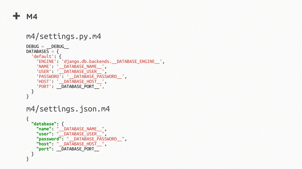 + m4 DEBUG = __DEBUG__ DATABASES = { 'default':...