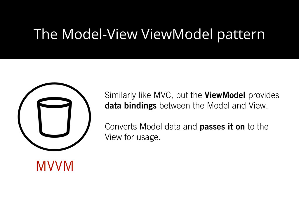 The Model-View ViewModel pattern MVVM Similarly...