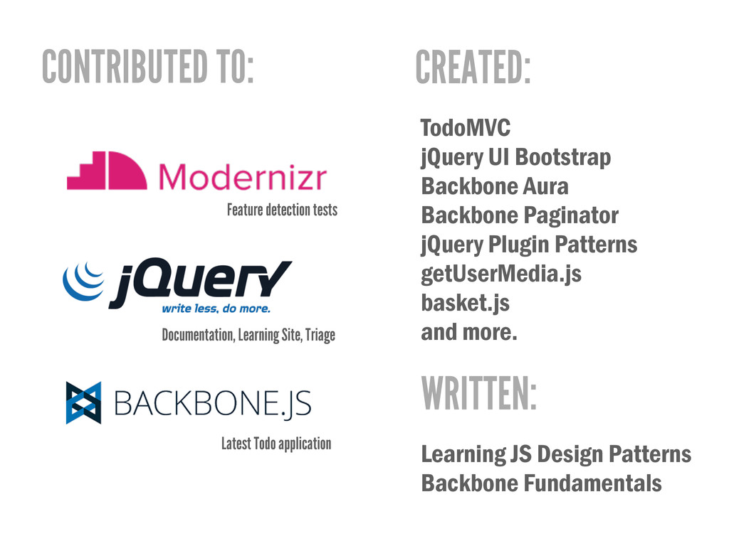 CONTRIBUTED TO: CREATED: TodoMVC jQuery UI Boot...