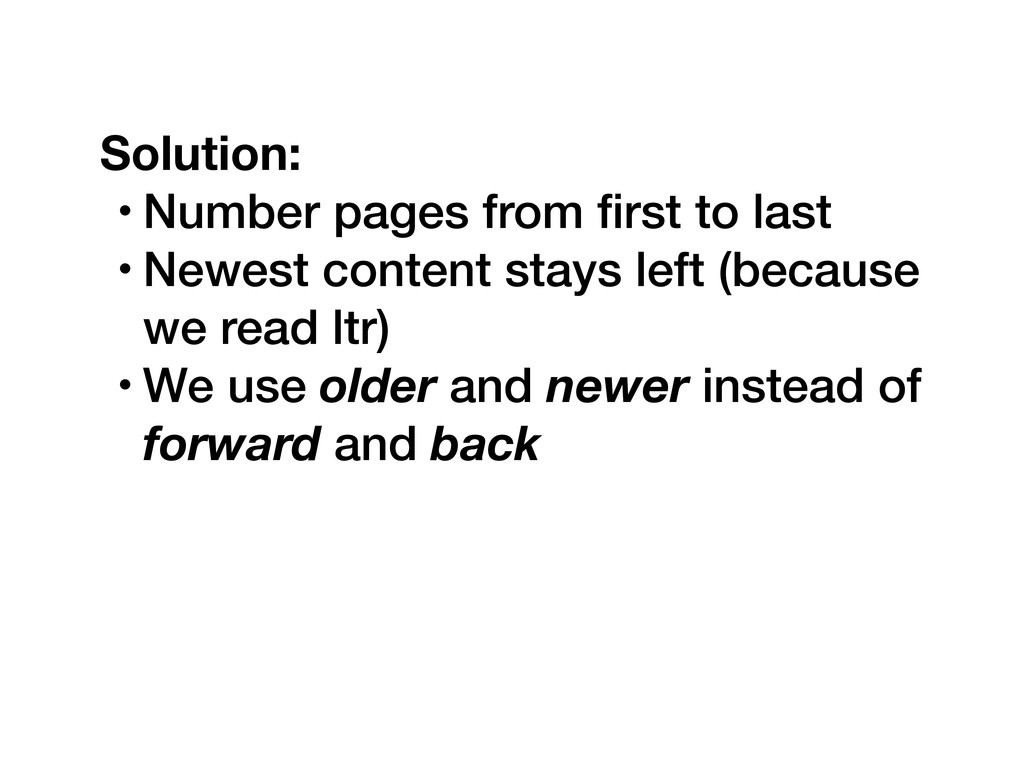 Solution: • Number pages from first to last • Ne...