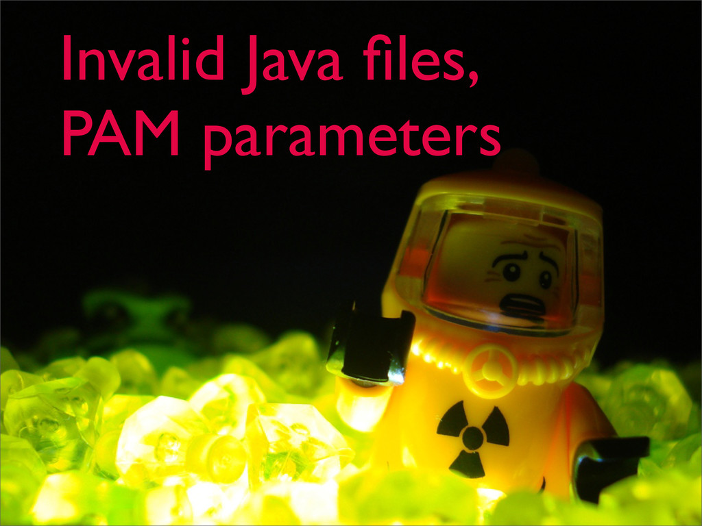 Invalid Java files, PAM parameters