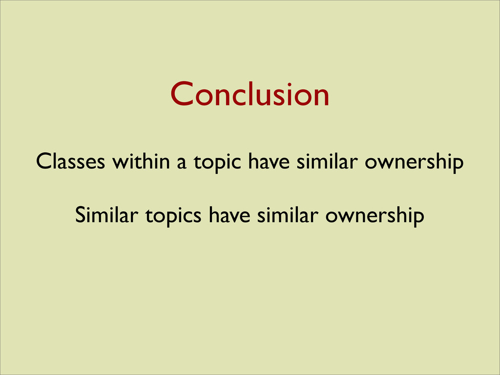 Classes within a topic have similar ownership S...