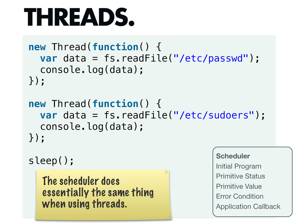 new Thread(function() { var data = fs.readFile(...