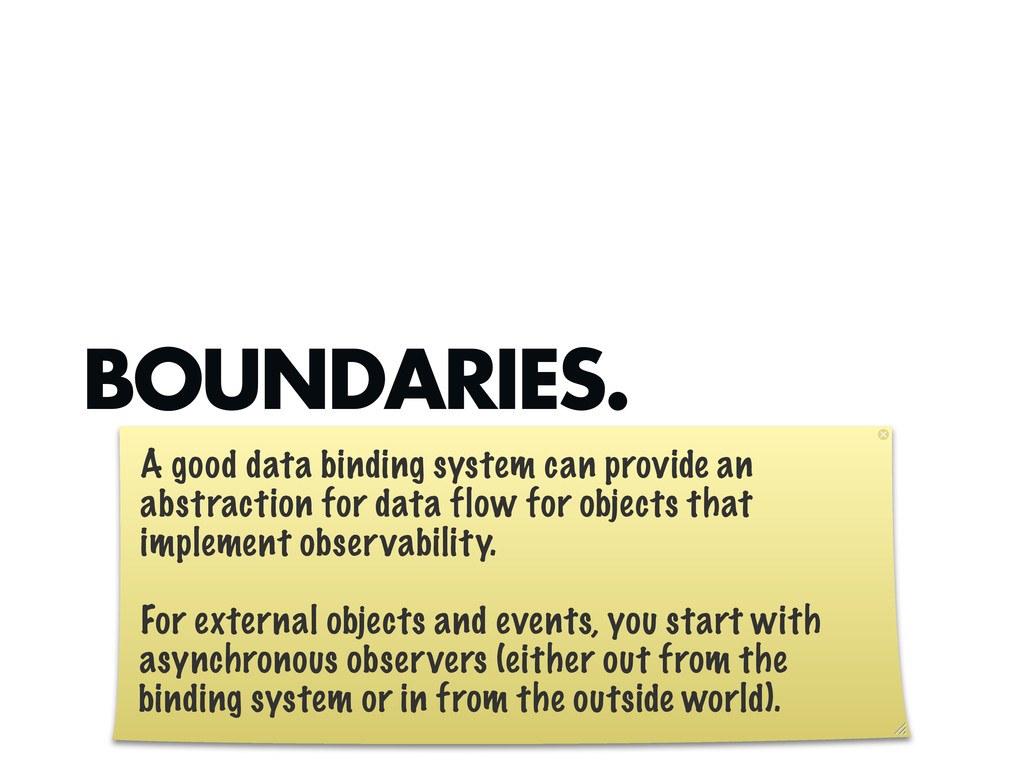 BOUNDARIES. A good data binding system can prov...