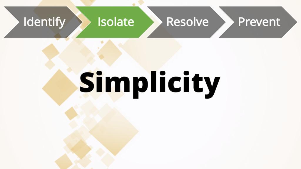 Simplicity Identify Isolate Resolve Prevent