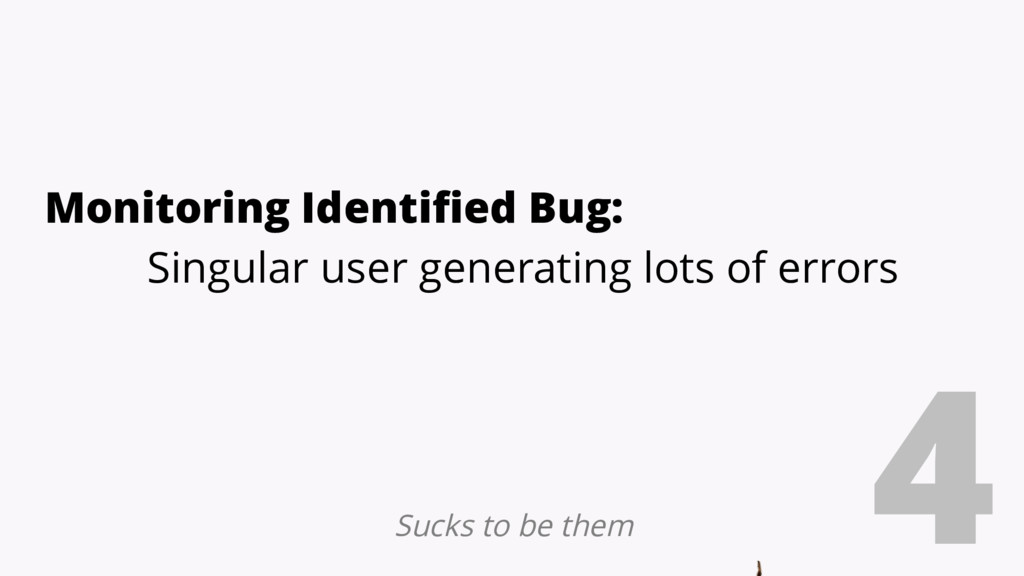 4 Monitoring Identified Bug: Singular user gene...