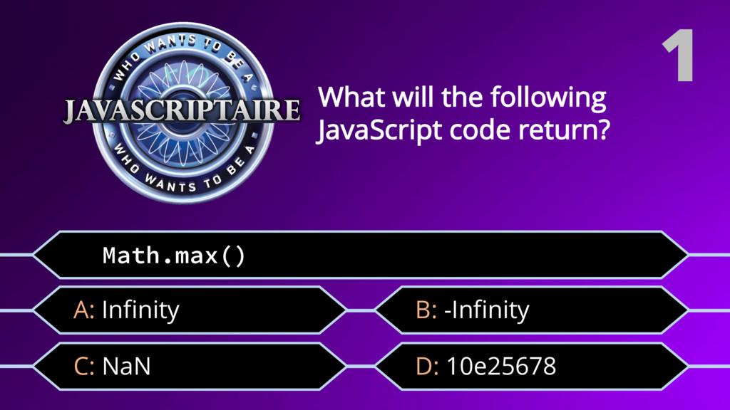 Math.max() C: NaN What will the following JavaS...