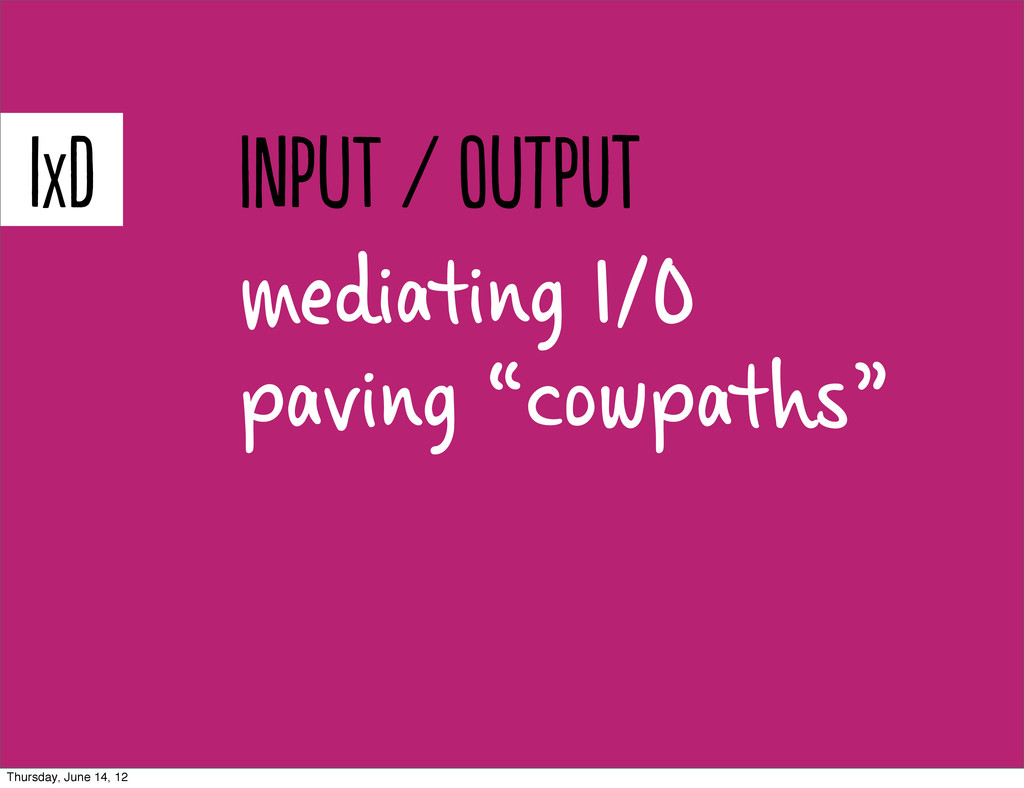 "mediating I/O paving ""cowpaths"" IXD pT / t..."