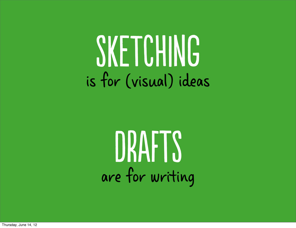 is for (visual) ideas SkTHg are for writing...