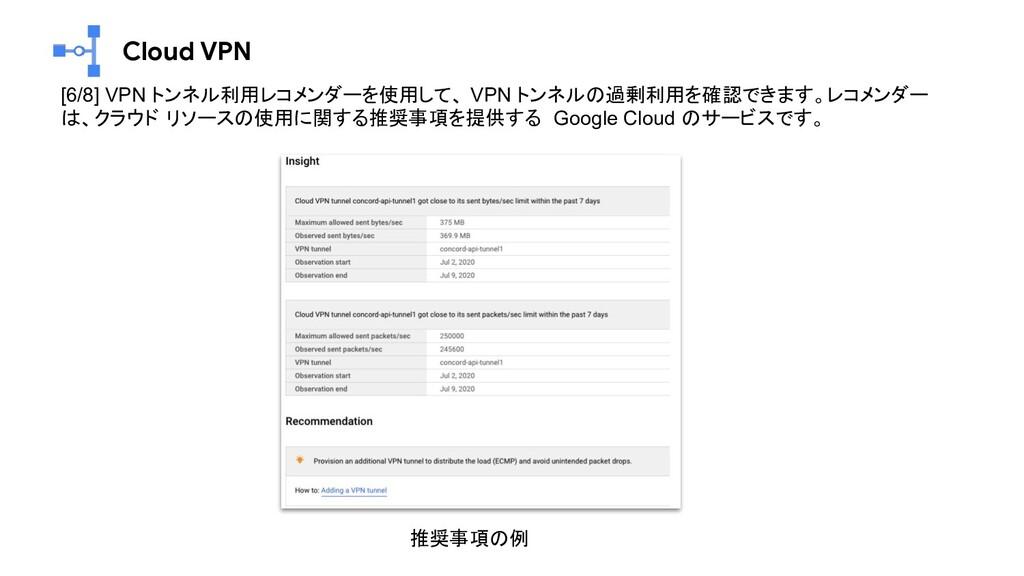 Cloud VPN [6/8] VPN トンネル利用レコメンダーを使用して、 VPN トンネル...