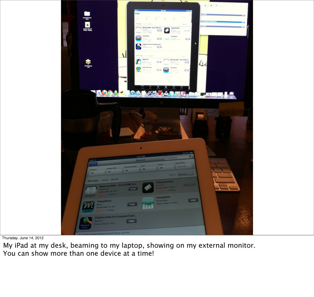 Thursday, June 14, 2012 My iPad at my desk, bea...