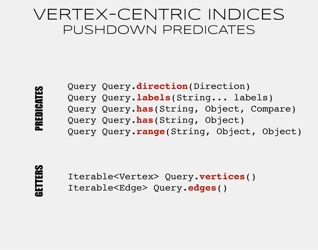 VERTEX-CENTRIC INDICES PUSHDOWN PREDICATES Quer...