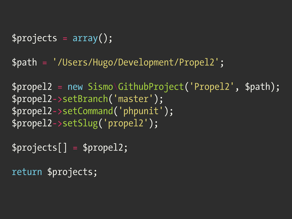 $projects = array(); $path = '/Users/Hugo/Devel...