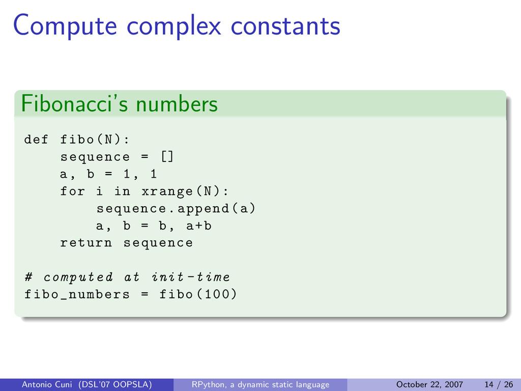 Compute complex constants Fibonacci's numbers d...