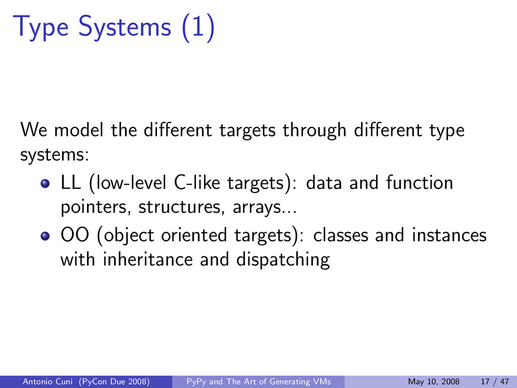 Type Systems (1) We model the different targets ...