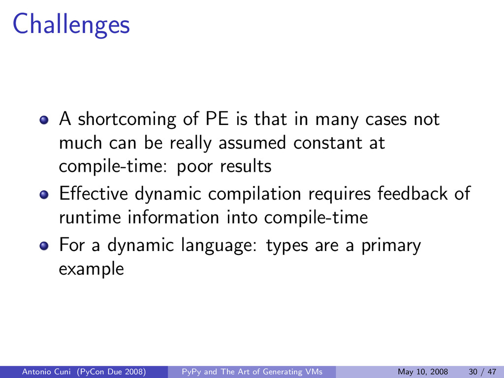Challenges A shortcoming of PE is that in many ...