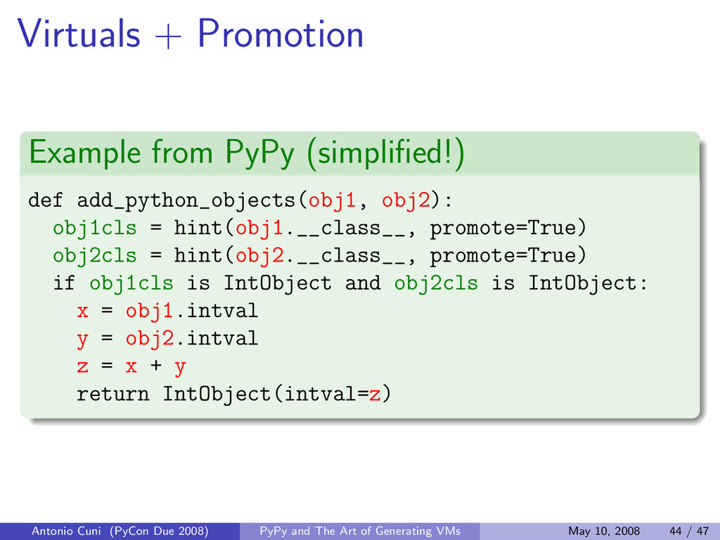Virtuals + Promotion Example from PyPy (simplifi...