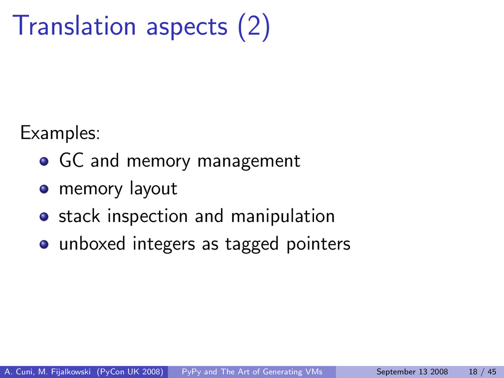 Translation aspects (2) Examples: GC and memory...