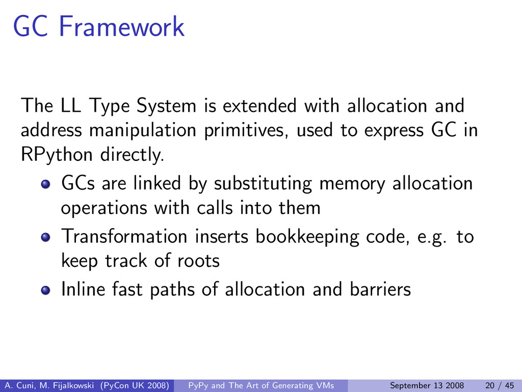 GC Framework The LL Type System is extended wit...