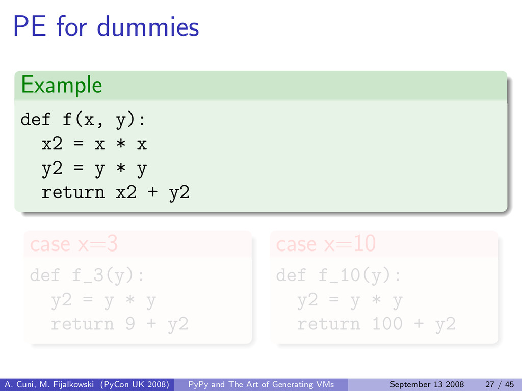 PE for dummies Example def f(x, y): x2 = x * x ...