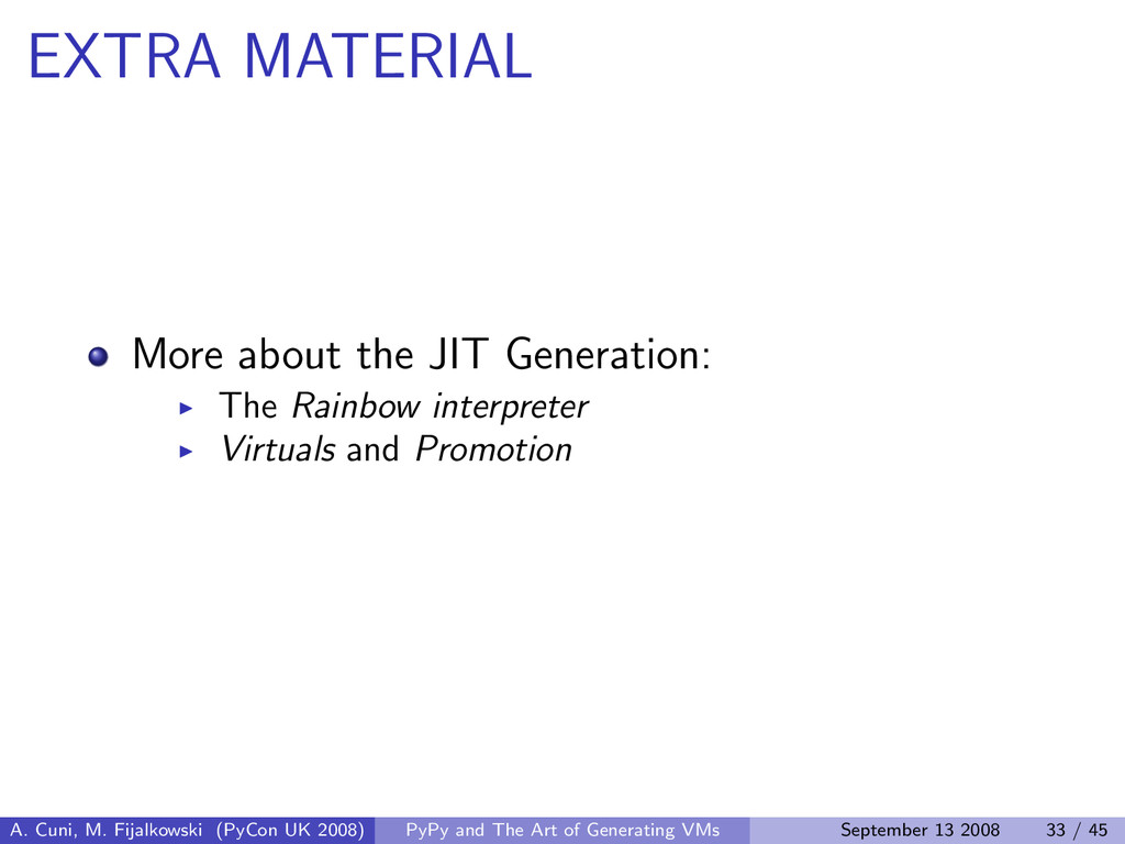 EXTRA MATERIAL More about the JIT Generation: T...