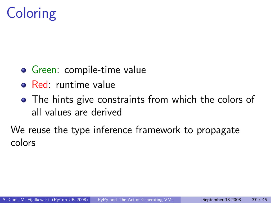 Coloring Green: compile-time value Red: runtime...
