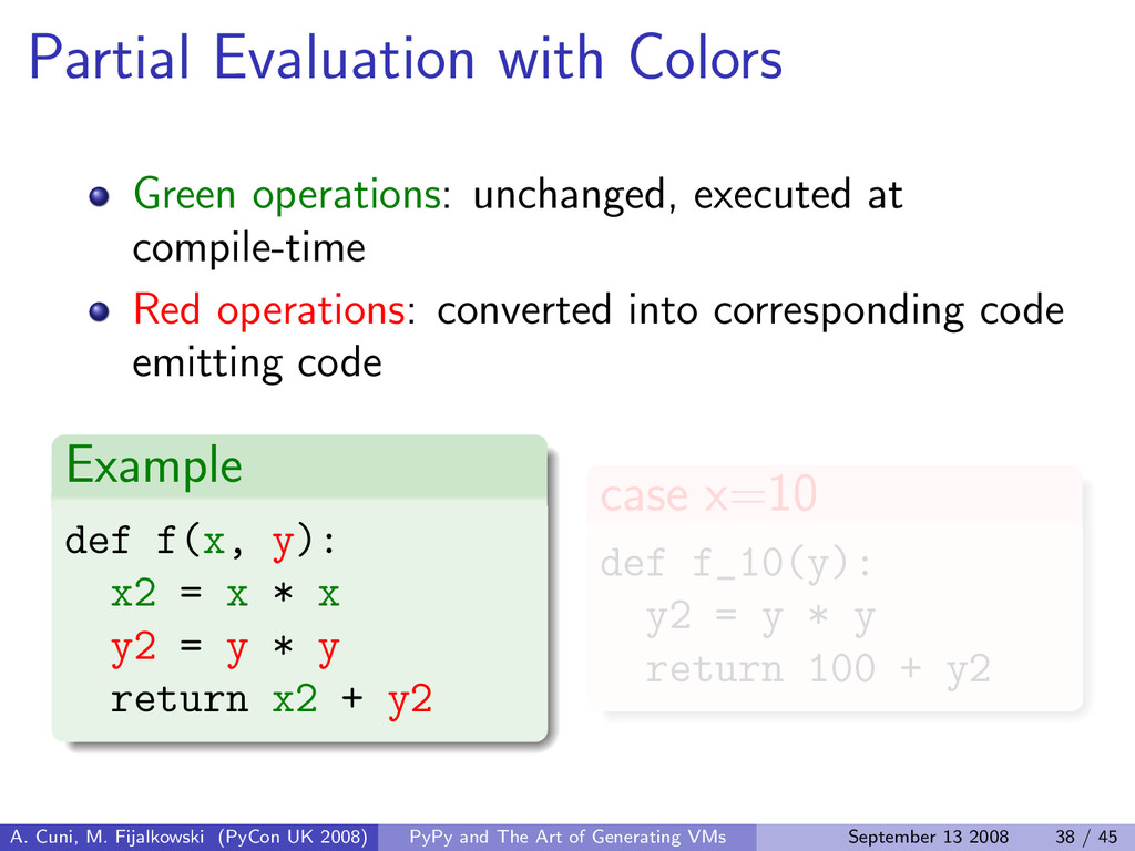 Partial Evaluation with Colors Green operations...