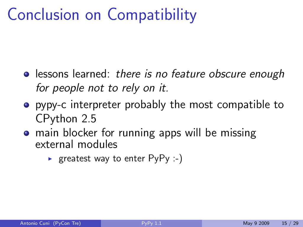 Conclusion on Compatibility lessons learned: th...