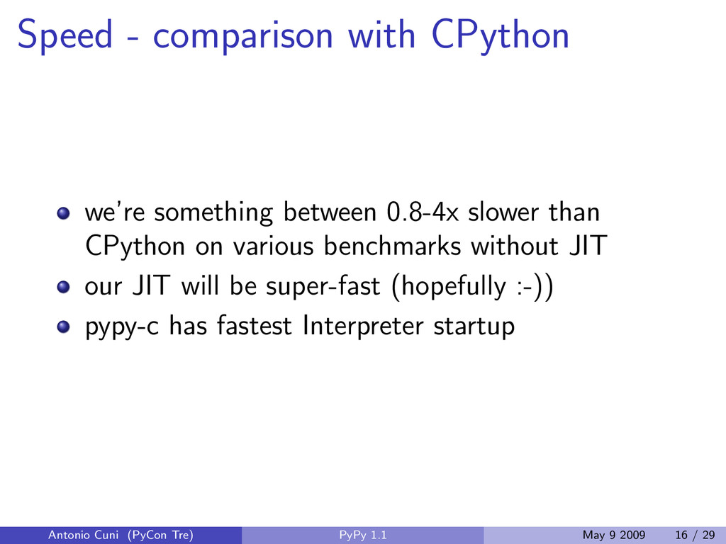 Speed - comparison with CPython we're something...