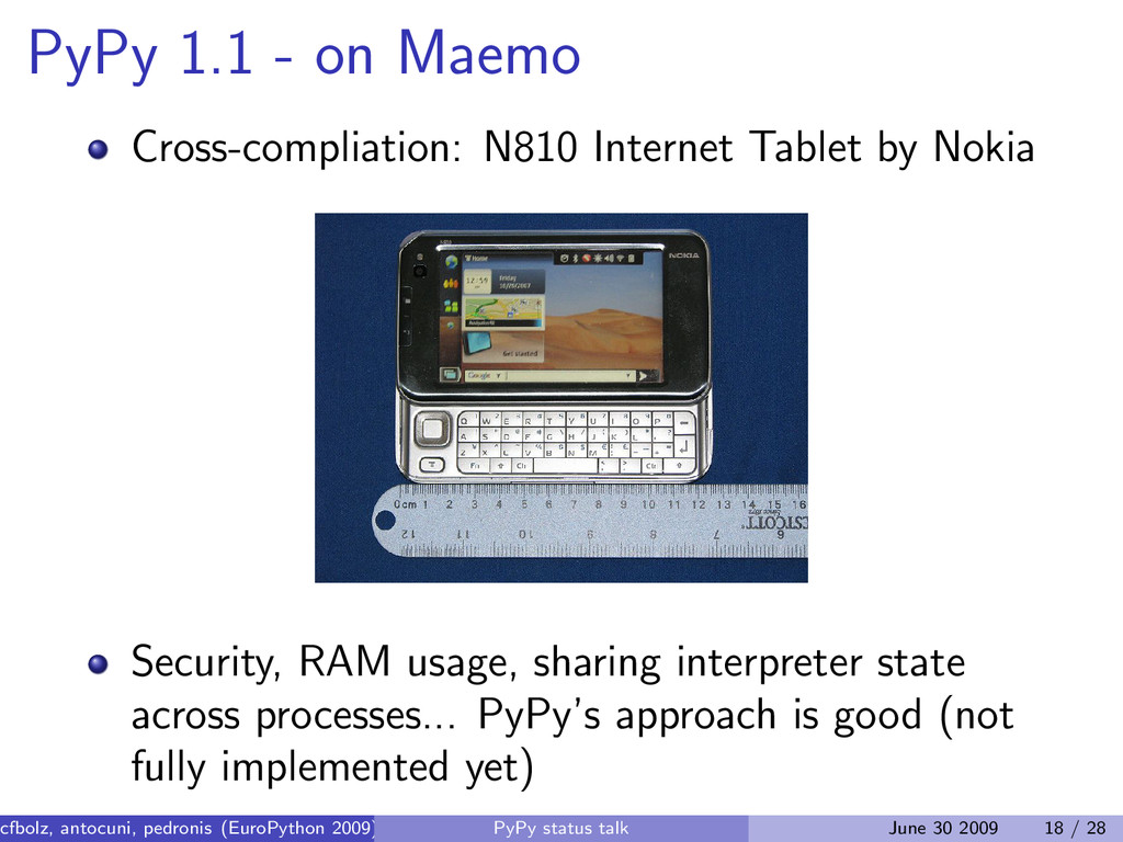 PyPy 1.1 - on Maemo Cross-compliation: N810 Int...