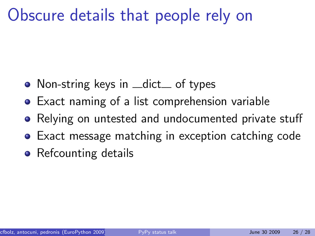 Obscure details that people rely on Non-string ...