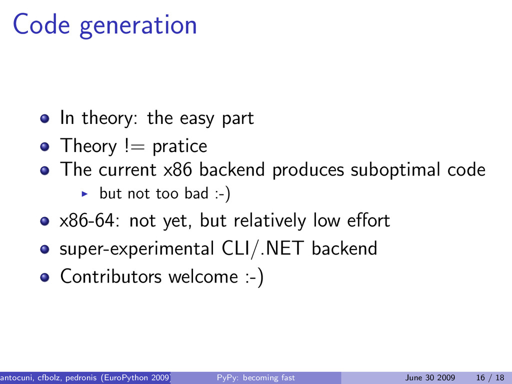 Code generation In theory: the easy part Theory...