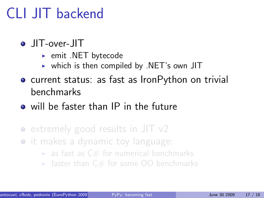 CLI JIT backend JIT-over-JIT emit .NET bytecode...