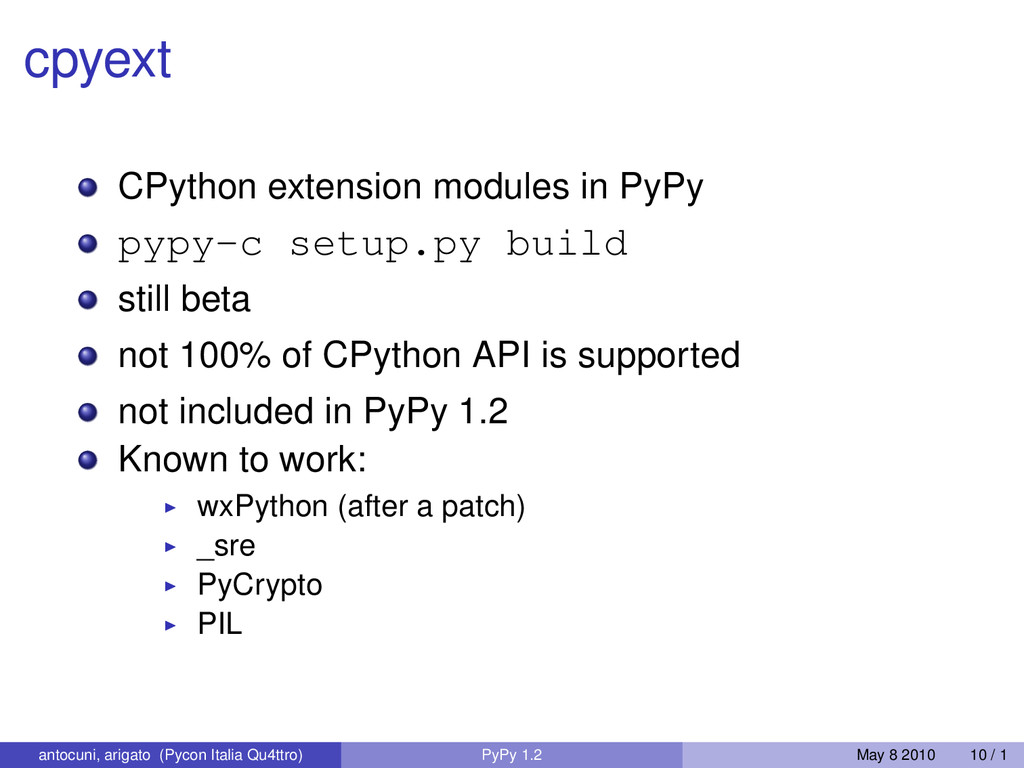 cpyext CPython extension modules in PyPy pypy-c...