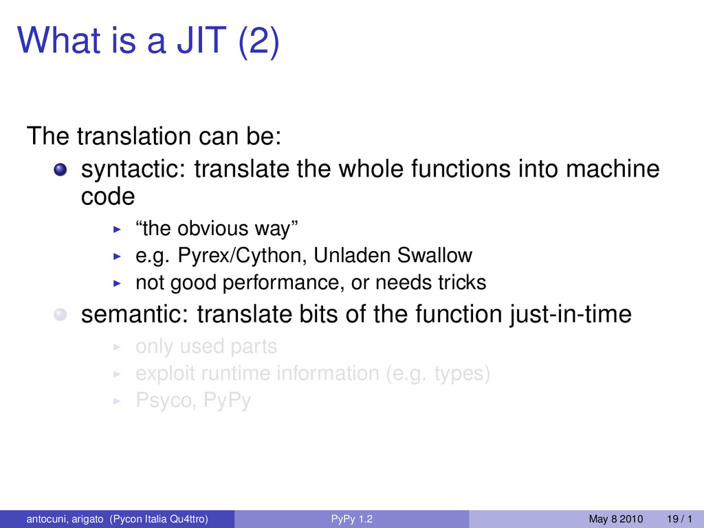 What is a JIT (2) The translation can be: synta...