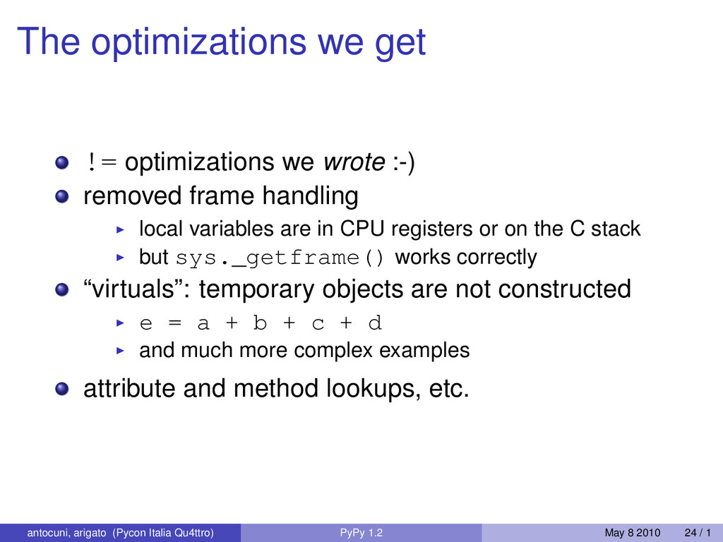 The optimizations we get != optimizations we wr...