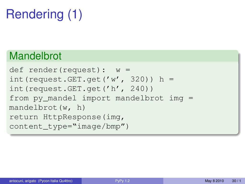 Rendering (1) Mandelbrot def render(request): w...