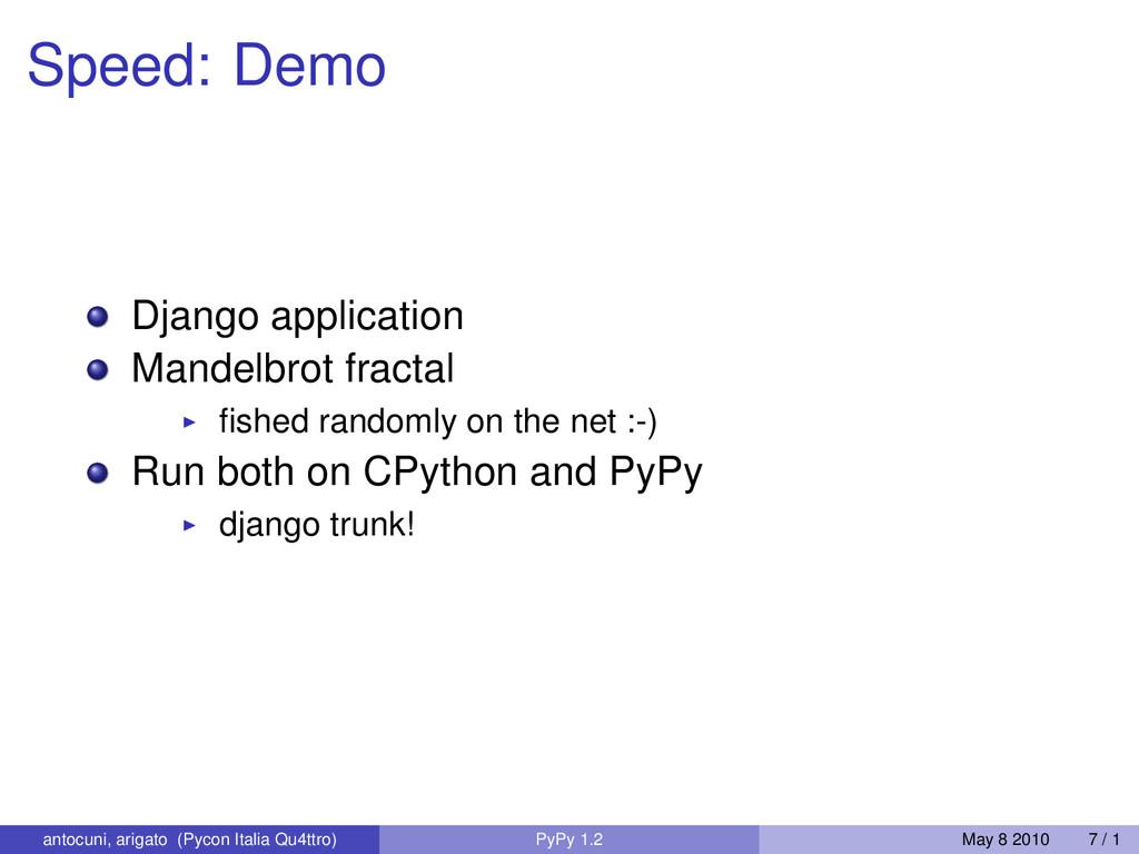 Speed: Demo Django application Mandelbrot fract...