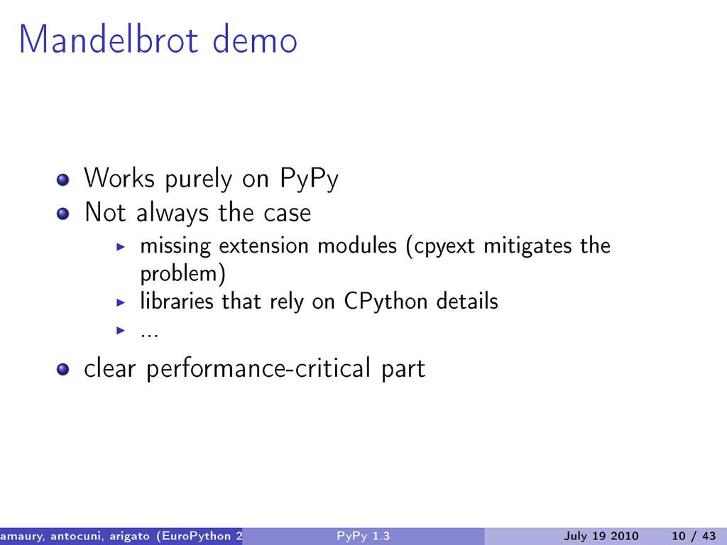 Mandelbrot demo Works purely on PyPy Not always...