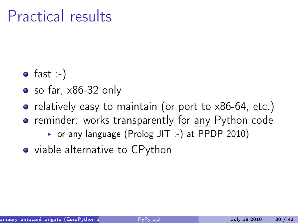 Practical results fast :-) so far, x86-32 only ...