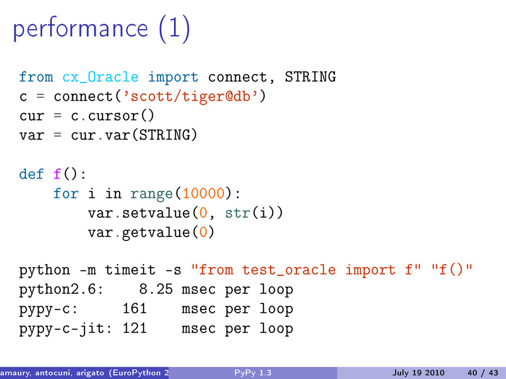 performance (1) from cx_Oracle import connect, ...