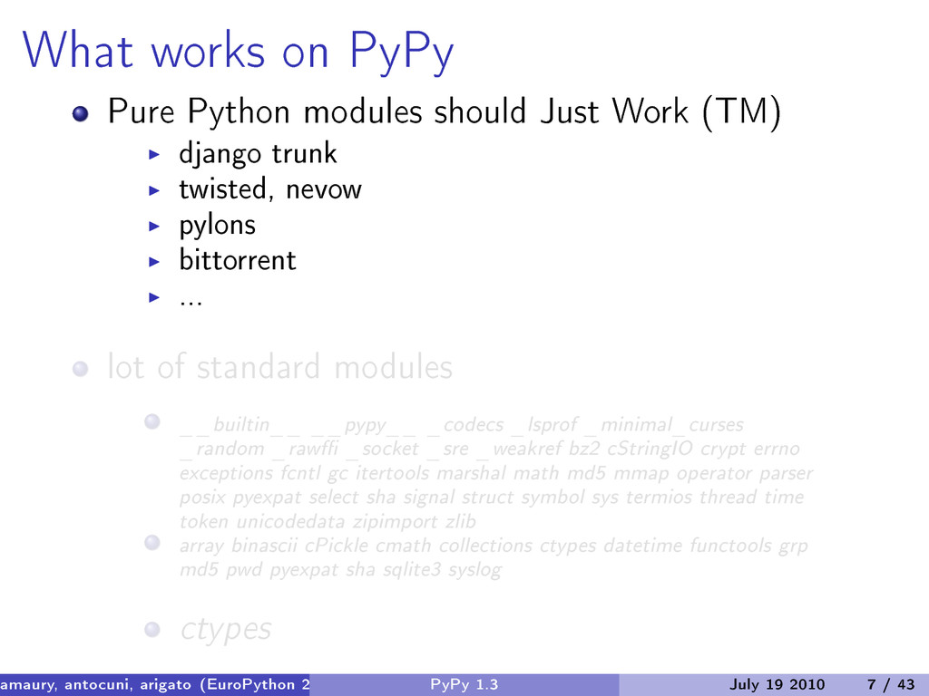 What works on PyPy Pure Python modules should J...