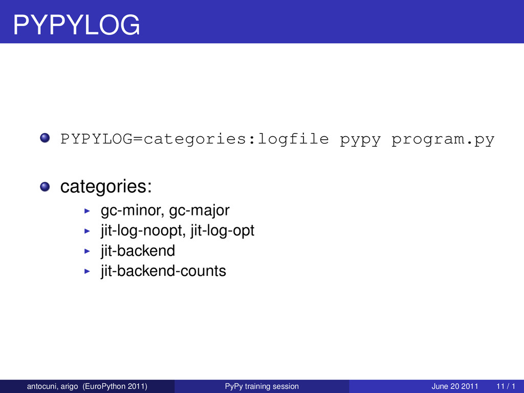 PYPYLOG PYPYLOG=categories:logfile pypy program...