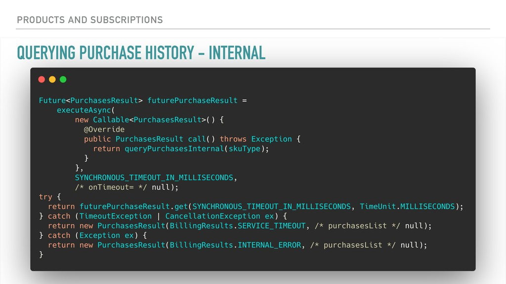 QUERYING PURCHASE HISTORY - INTERNAL PRODUCTS A...