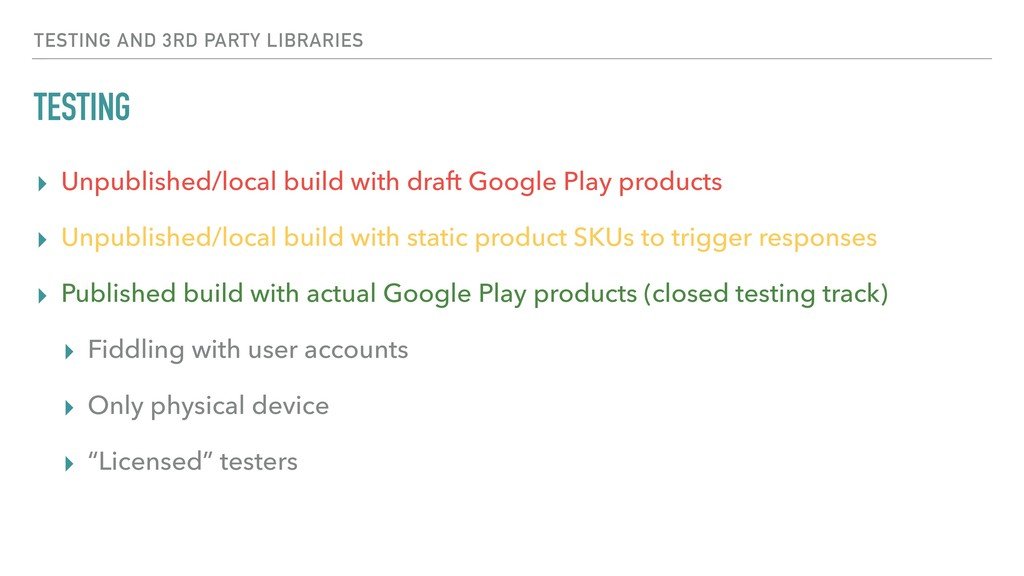 TESTING ▸ Unpublished/local build with draft Go...