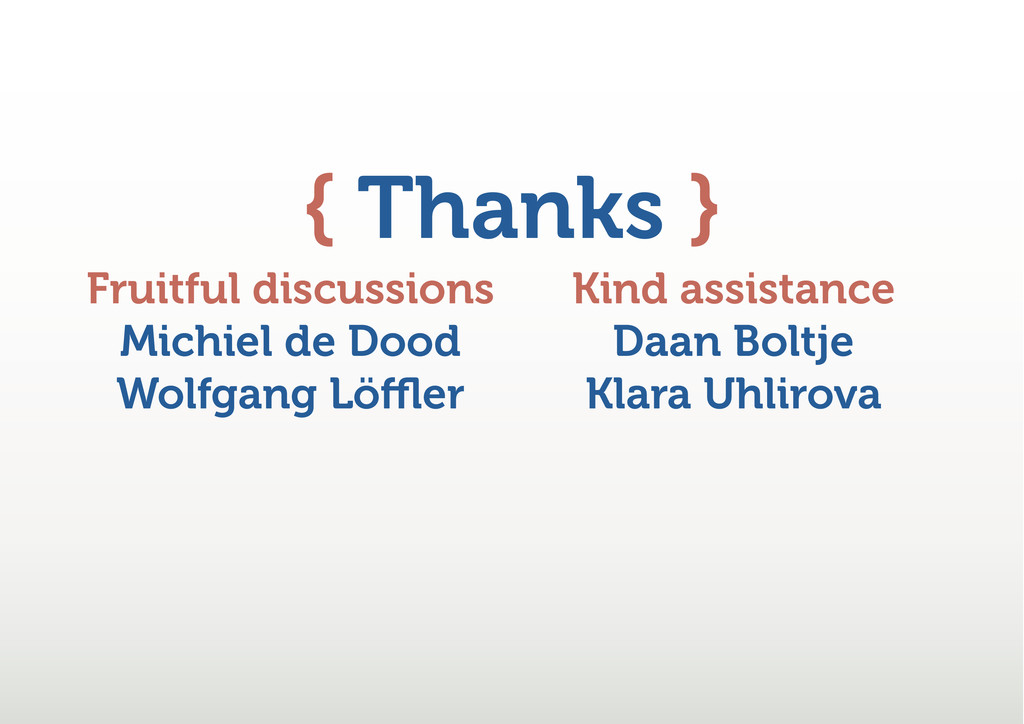 { Thanks } Fruitful discussions Michiel de Dood...