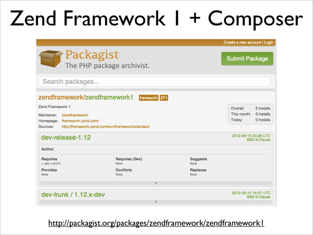 Zend Framework 1 + Composer http://packagist.or...