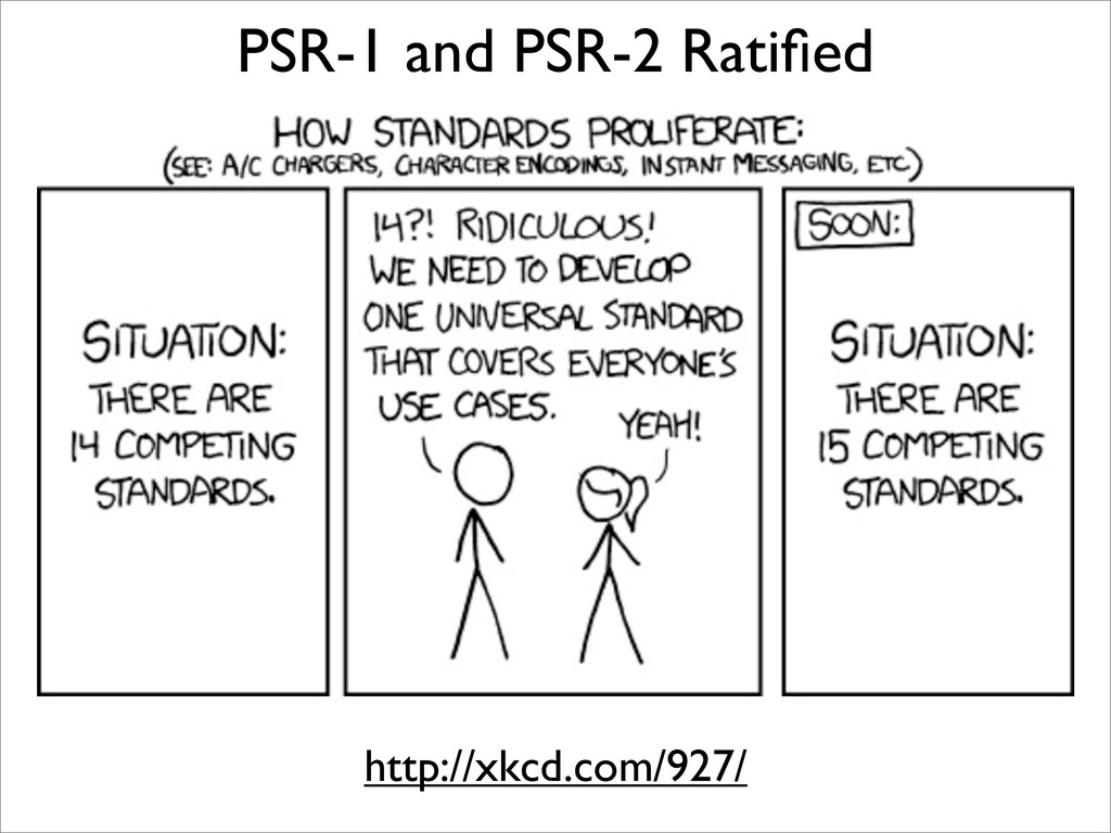 PSR-1 and PSR-2 Ratified http://xkcd.com/927/